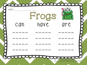 Frog Animal Research and Informational Writing Report Pack {Common Core}