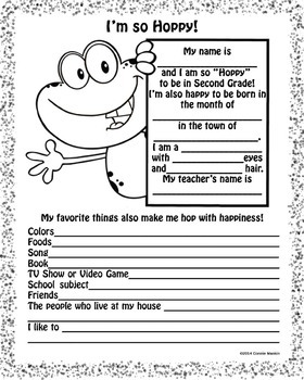picture relating to All About Me Printable Worksheets called Frog Again Toward University Instant Quality All Concerning Me Printable Worksheet - BW  Coloration
