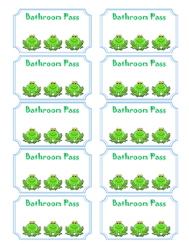 Frog Bathroom Passes