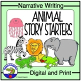 Narrative Writing Story Starters - Animal Writing Prompts on Lined Paper