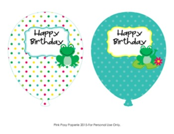 Frog Birthday Balloons (4 different designs)