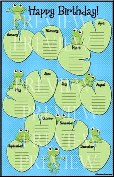 Frog Birthday Chart