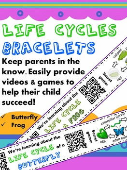 Frog & Butterfly Life Cycles Homework {Bracelets with QR Codes}