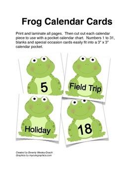 Frog Calendar Cards
