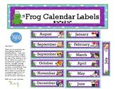 Frog Decor Classroom Calendar Months