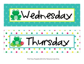 Frog Calendar Set - Months - Days - Numbers