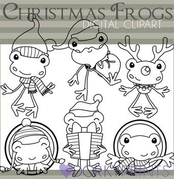 Frog Christmas Black Line Clip Art