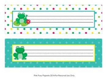 Frog Classroom Decor Desk Name Plates