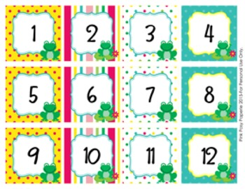 Frog Classroom Decor Monthly Calendar Numbers