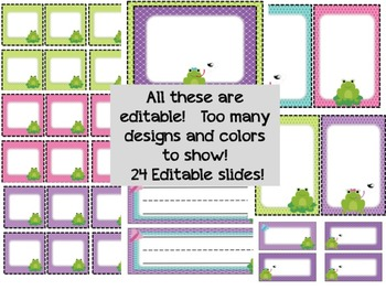 Frog Classroom Decor Set - Editable