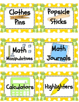 Frog Classroom Supply Labels