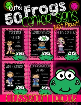 Frogs Classroom Theme Center Signs