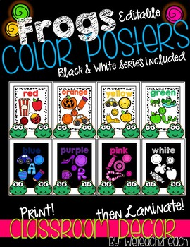 Frog Classroom Theme Color Posters