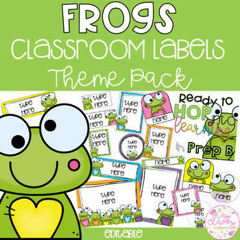 Frog Classroom Theme Pack - Editable Name Tags, Labels and Posters