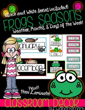 Frog Classroom Theme Seasons, Days of the Week, Months