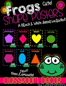 Frog Classroom Theme Shape Posters