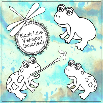 Frogs & Dragonflies By The Pond Clip Art Images ~ 19 Color & Black Line Images