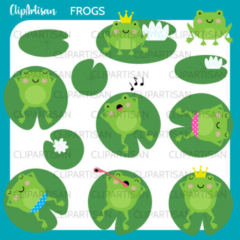 Frog Clip Art, Frogs on Lily Pads