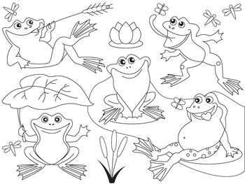 Frog Clipart -  Digital Vector Frog, Lily, Frogs, Pond, Fr
