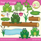 Frog Clipart: Frogs on Logs Clip Art Set