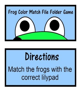 Frog Color Match File Folder Game