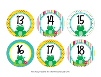 Frog Cubby Number Labels 1-30