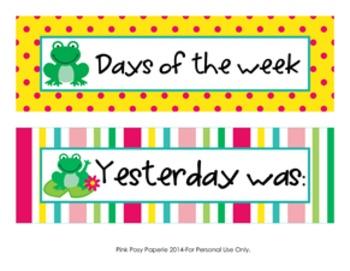 Frog Days of the Week Calendar Headers