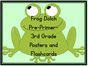 Frog Dolch Pre-Primer-Third Grade Sight Word Flashcards an