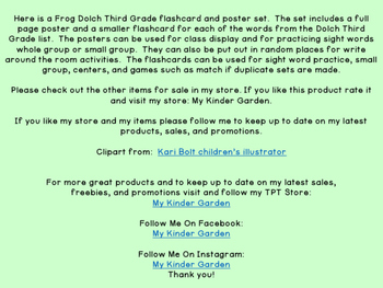 Frog Dolch Third Grade Sight Word Flashcards and Posters