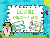 Editable frog themed nametags, name tags, desk plates