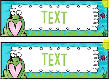 Editable frog themed nametags, name tags, desk plates