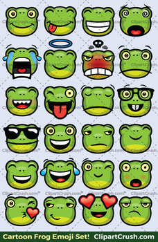 Frog Emoji Clipart Faces / Frog Cartoon Toad Emojis Emotions Expressions