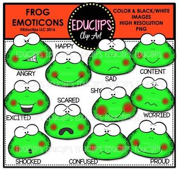 Frog Emoticons Clip Art Bundle  {Educlips Clipart}