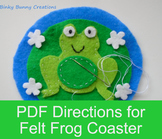 Frog Felt Sewing Craft Templates & Directions