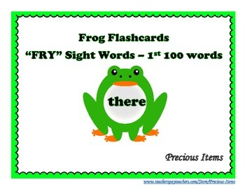 """Frog Flashcards """"FRY"""" Sight Words - 1st 100 Words"""