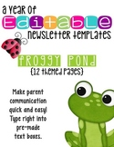 Editable Newsletter Templates (12 included): Frog Friends