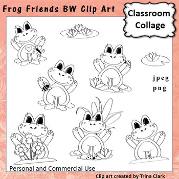 Frog Friends Clip Art - bw line drawings - personal & commercial use