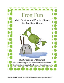 Frog Fun Math Centers: patterns, +&-, # words, time + more