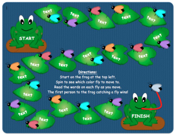 Frog Game Board--Editable! Great for high frequency words, math facts, vocab.