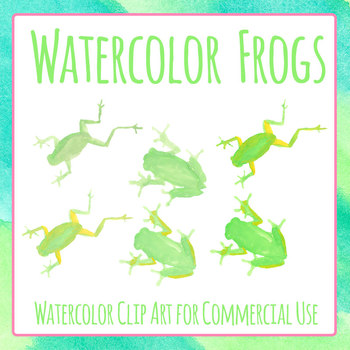 Frog Handpainted Watercolor Clip Art Set Commercial Use