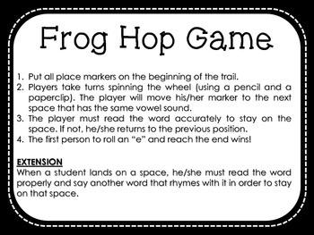 Frog Hop Game - Reading Short Vowel and CVC Words