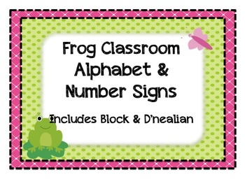 Frog Individual Alphabet and Number Signs - Bright Colors