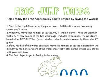 RF.2.3a-d Frog Jump Words