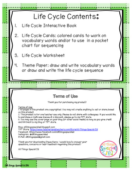 Frog Life Cycle adapted book and activities