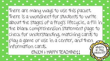 Frog Life Cycle - Comprehension Qs, Matching Game, Info Cards, Worksheets