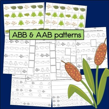 Frog Life Cycle Patterns Math Center with AB, ABC, AAB & ABB Patterns