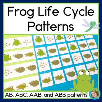 Frog Life Cycle Patterns Math Center with AB, ABC, AAB & A