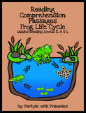 Frog Life Cycle Reading Comprehension Passages: Guided Reading Levels E, H & L