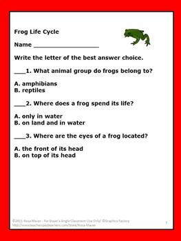 Frog Life Cycle Task Cards