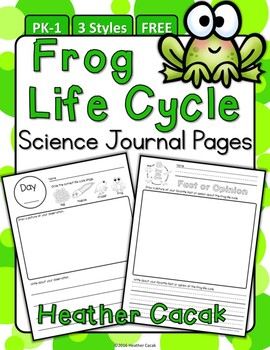 Frog Life Cycle Science Journal Observation Pages {PK-1} FREE